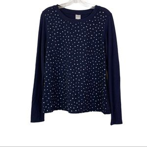 Kaileigh Top Blue S Long Sleeve Mixed Material